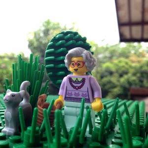 Nenek lagi jalan-jalan di taman :)