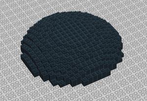 Nah ini saya buat kubah yang lingkaran sempurna.