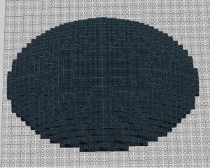 Ini saya coba buat kubah lonjong dengan width dan length yang berbeda. Kalau model ini agak rumit karena kamu gak bisa langsung copy.